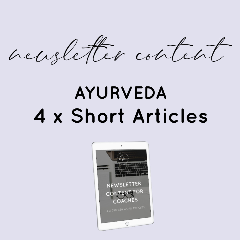 newsletter content - ayurveda