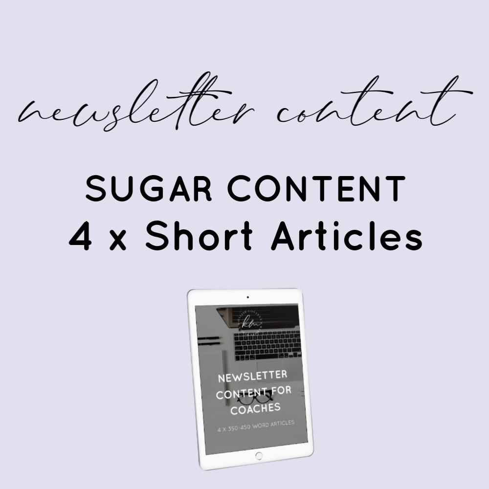sugar newsletter content