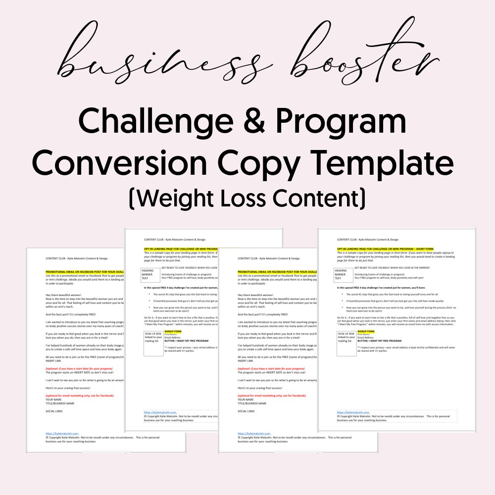 Challenge conversion Copy Template Weight Loss for coaches