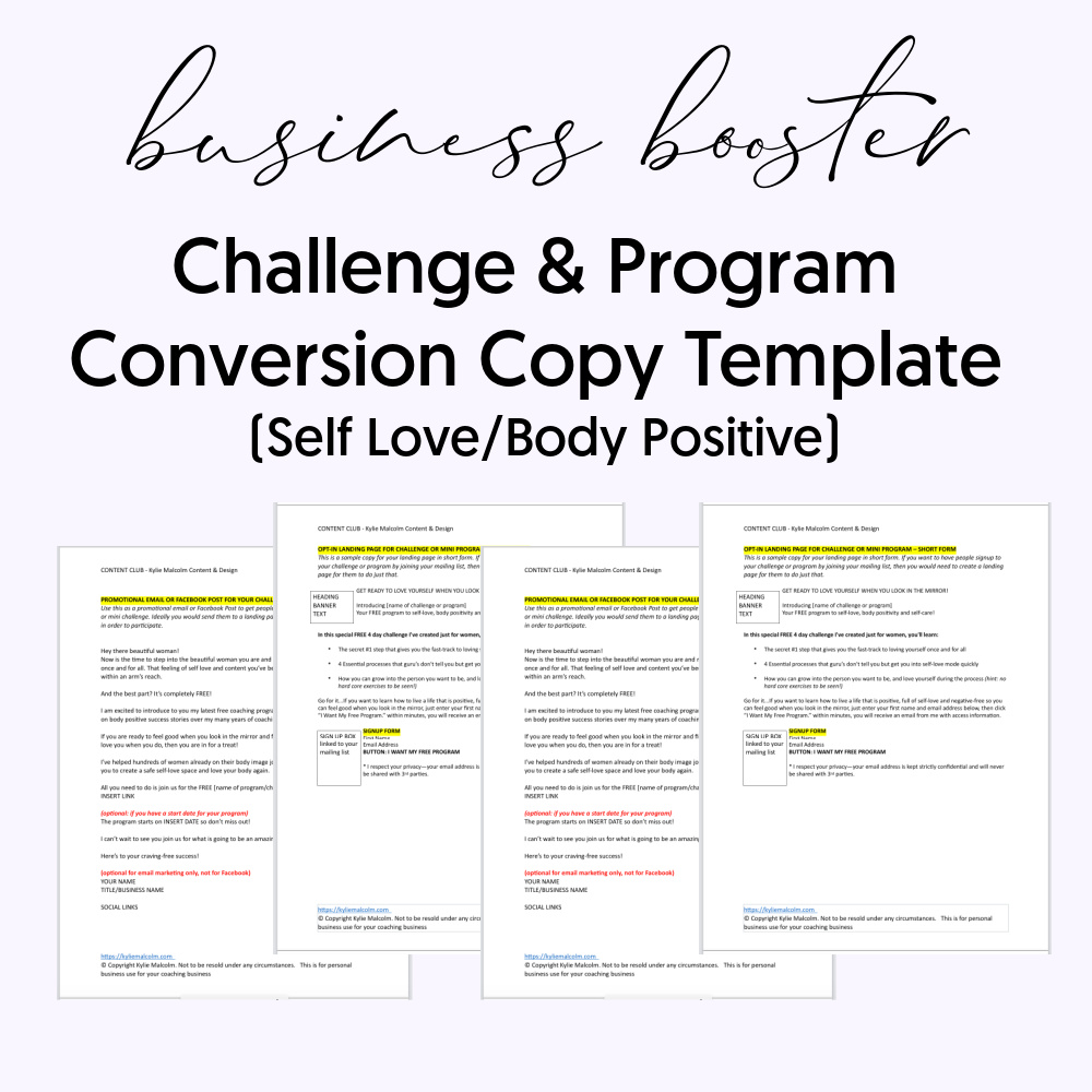 Challenge conversion Copy Template Self Love for coaches